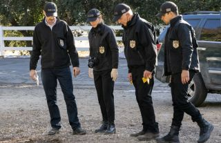 "Pictured: Sean Murray as NCIS Special Agent Timothy McGee,Emily Wickersham as NCIS Special Agent Eleanor ""Ellie"" Bishop, Mark Harmon as NCIS Special Agent Leroy Jethro Gibbs, Wilmer Valderrama as NCIS Special Agent Nicholas ""Nick"" Torres."