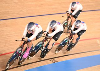 Chloe Dygert leads Lily Williams, Emma White and Jen Valente in the Olympic Games team pursuit qualifying in Tokyo 2020