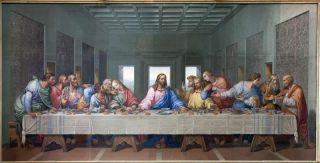 Mosaic of Last supper of Jesus by Giacomo Raffaelli