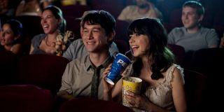 Joseph Gordon-Levitt and Zooey Deschanel watching a movie in 500 Days of Summer