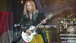 Richie Faulkner of Judas Priest performs on the main stage on day one of the High Voltage Festival at Victoria Park on July 23, 2011 in London