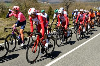 ERMUALDE LAUDIO SPAIN APRIL 07 Nicolas Edet of France Guillaume Martin of France and Team Cofidis during the 60th ItzuliaVuelta Ciclista Pais Vasco 2021 Stage 3 a 1677km stage from Amurrio to Ermualde Laudio 481m itzulia ehitzulia on April 07 2021 in Ermualde Laudio Spain Photo by David RamosGetty Images