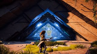 Aloy faces the blue triangle marking a Cauldron dungeon