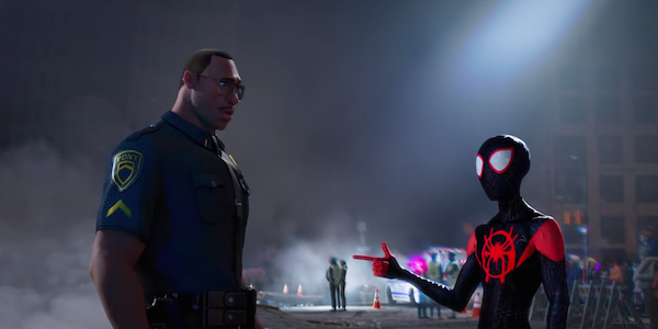 Spider-Man Miles Morales with police officer 2018 movie