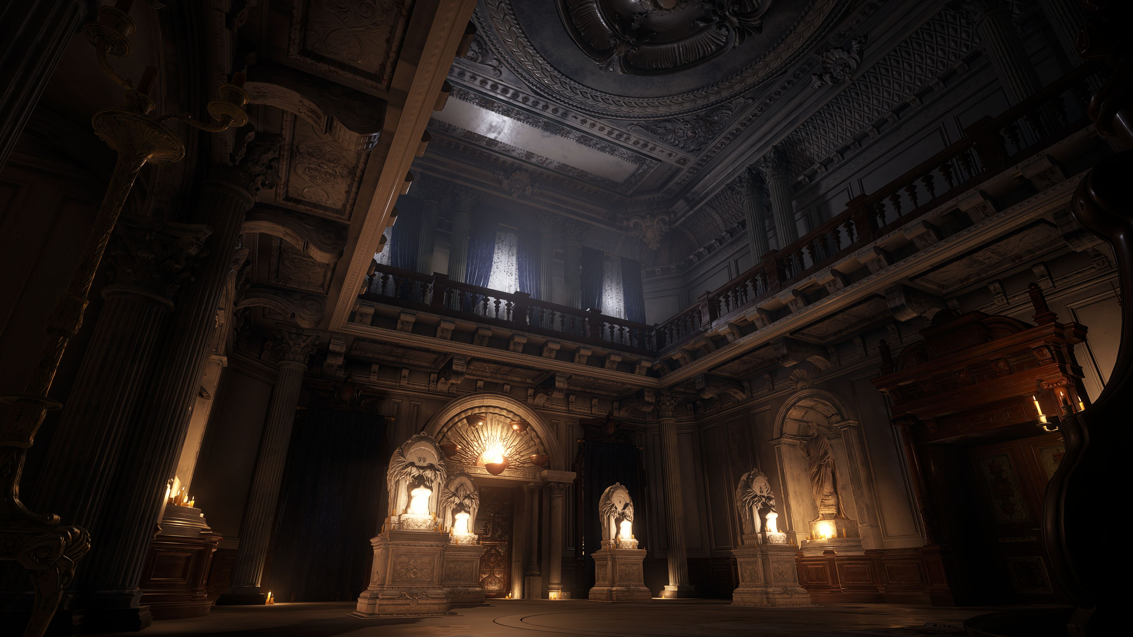 Resident Evil Village - the interior of Dimitrescu castle. A two story room with a second bloor ring balcony is lit by candles.