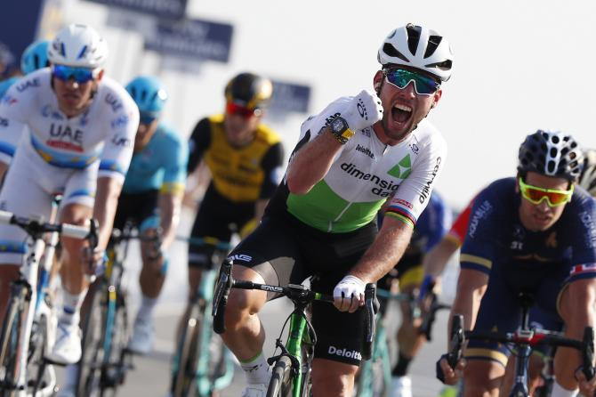 Mark Cavendish claimed victory on stage 3 of the Dubai Tour
