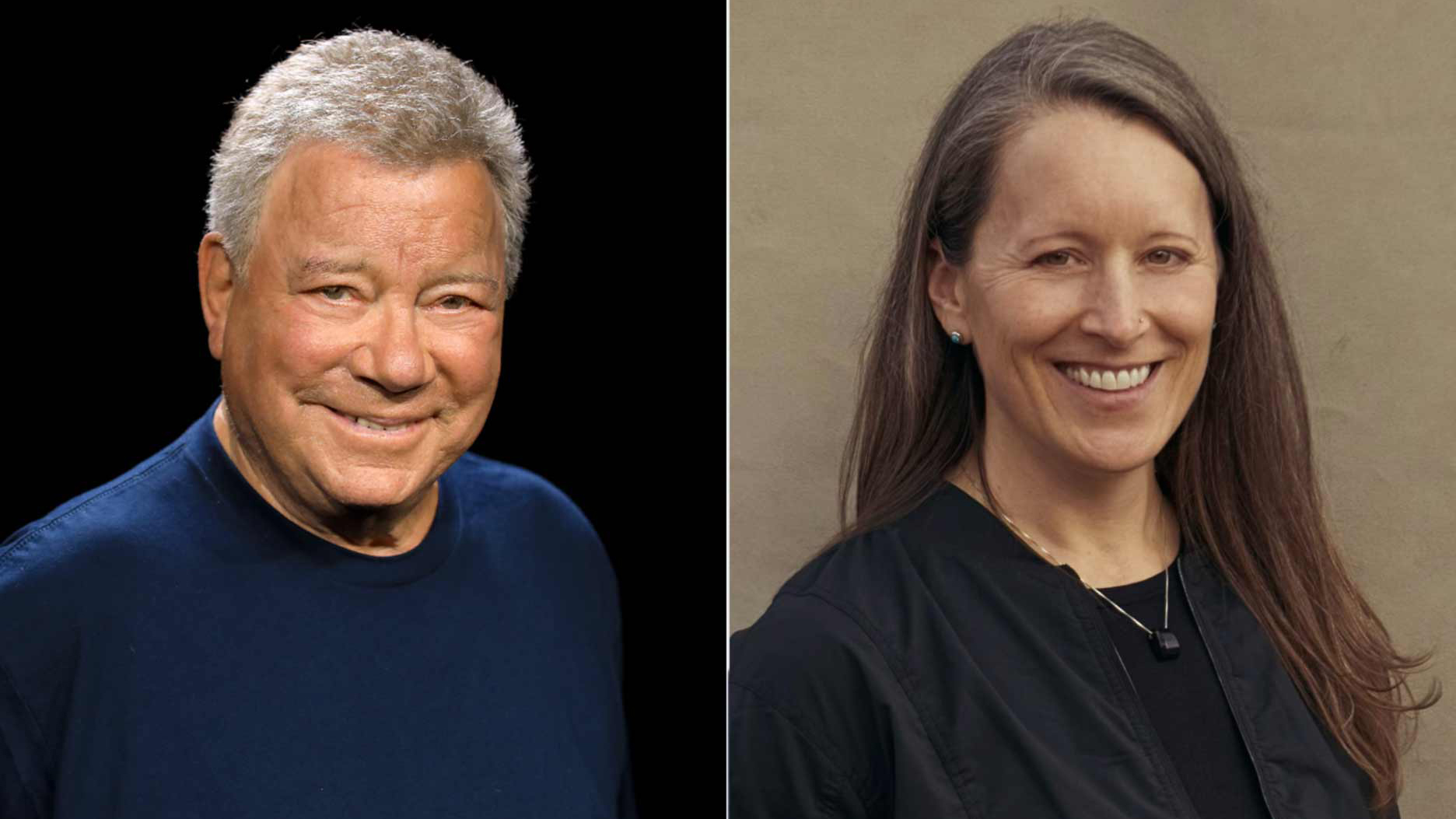 Actor William Shatner (left) and Blue Origin Vice President of Mission & Flight Operations Audrey Powers (right) will fly on Blue Origin's New Shepard NS-18 mission, on Oct. 12, 2021.