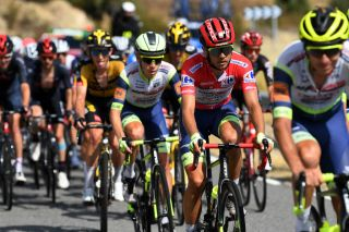 EL BARRACO SPAIN AUGUST 29 Odd Christian Eiking of Norway and Team Intermarch Wanty Gobert Matriaux red leader jersey competes during the 76th Tour of Spain 2021 Stage 15 a 1975km km stage from Navalmoral de la Mata to El Barraco lavuelta LaVuelta21 on August 29 2021 in El Barraco Spain Photo by Tim de WaeleGetty Images