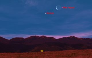 This sky map of Venus and the moon shows how they will appear at about 6:30 a.m. ET on Feb. 28, 2011 to the U.S. East Coast. Observers in other parts of the U.S. may see a similar sight at around the same time, weather permitting.