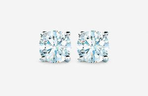 Platinum diamond solitaire earrings