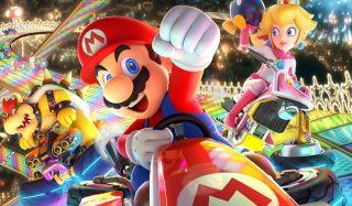 The cast of Mario Kart 8 Deluxe race