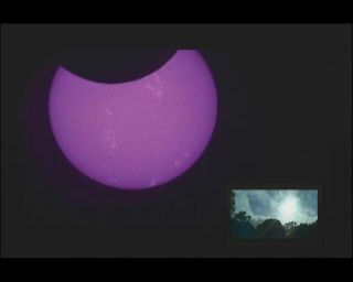 Purple-tinted Sun and Moon