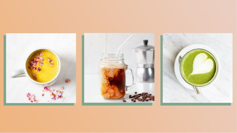 three images of different coffee drinks showing the big coffee trends - a turmeric latte, a glass of cold brew with milk being poured in and a matcha latte - on a coral orange background