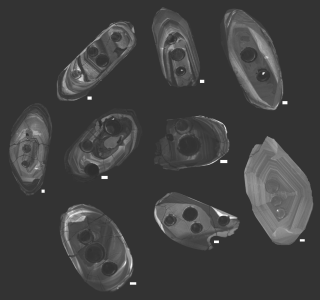 The interiors of the zircons are visualized using an specialized electron microscope.
