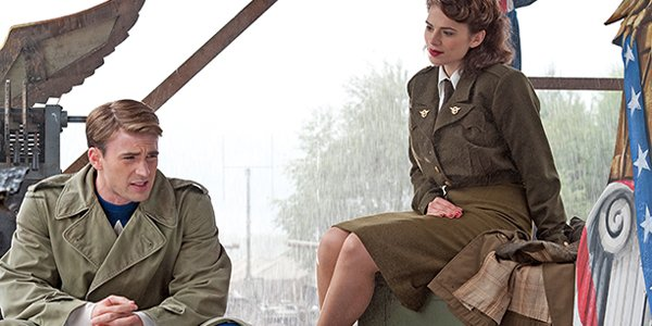 Captain America The First Avenger Steve Rogers sitting with Peggy Carter Marvel Studios