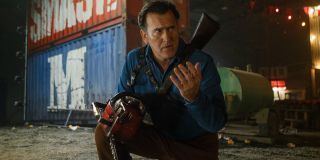 Ash vs The Evil Dead Bruce Campbell examining his remaining hand