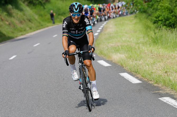 Michal Kwiatkowski attacks during stage 2 at the Criterium du Dauphine