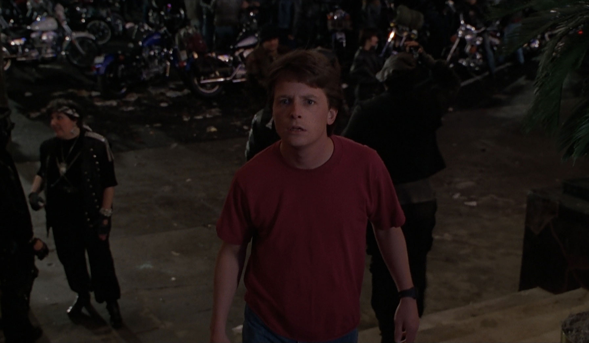 Back To The Future Part II Marty dumbfounded in alternate 1985