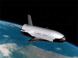 Now being readied for an orbital shakeout, the X-37B (shown here in an illustration) is an unpiloted military space plane. Launched from Florida, the vehicle will make an auto-touchdown in California.