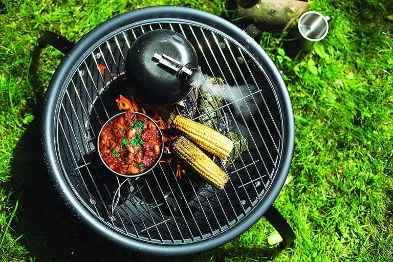 Portable BBQ: La Hacienda 58106 Camping Firebowl with Grill, Folding Legs and Carry Bag