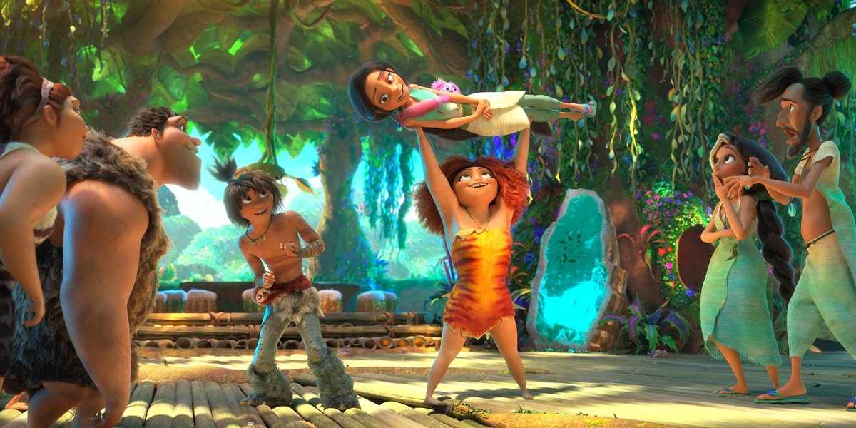 The Croods cast Eep lifting Dawn while families watch