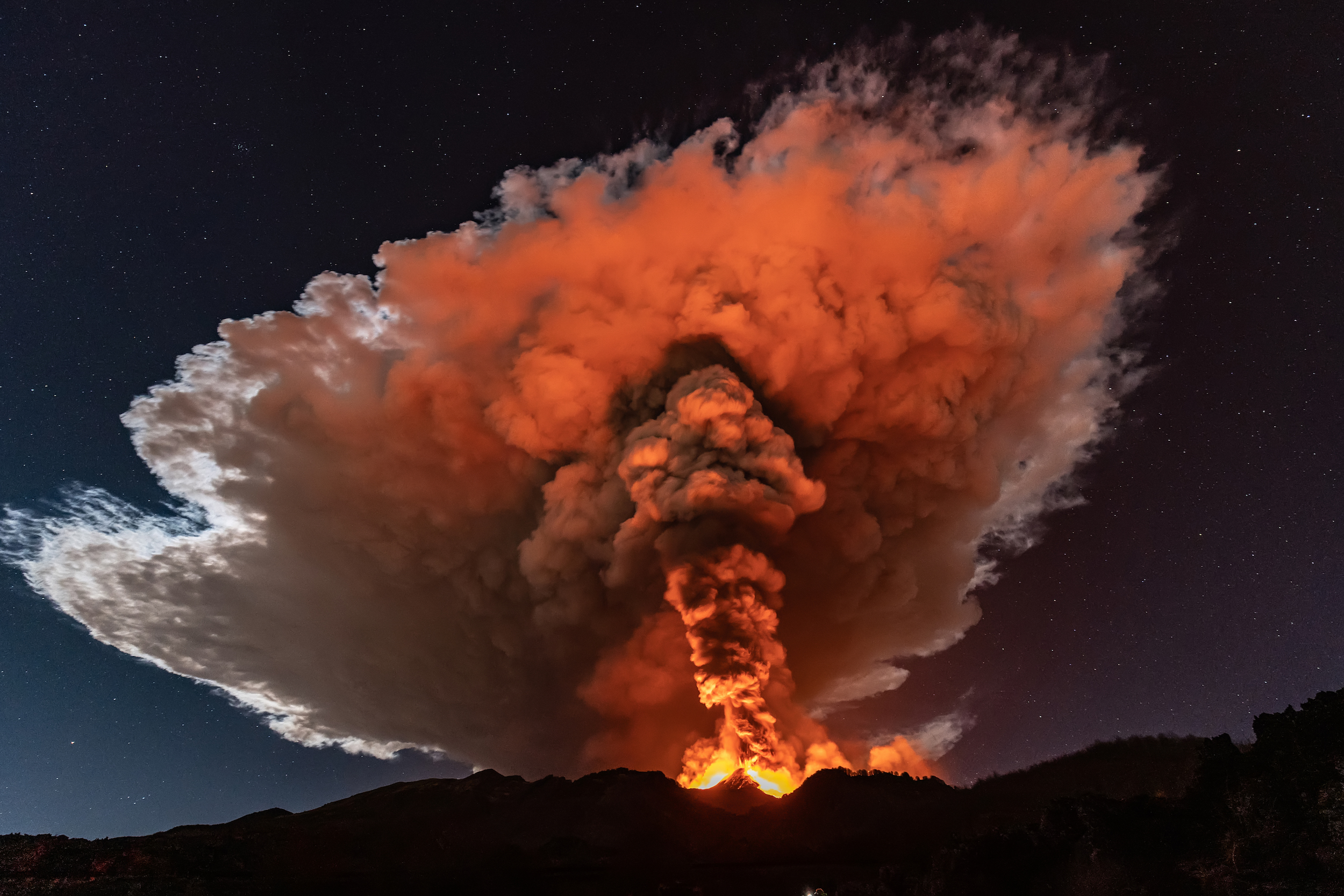 Mount Etna erupts over Sicily in late February, 2021