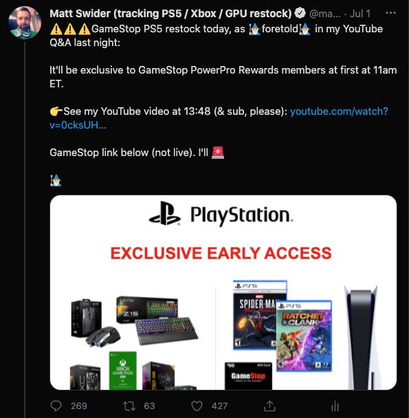 PS5 restock GameStop Twitter alert