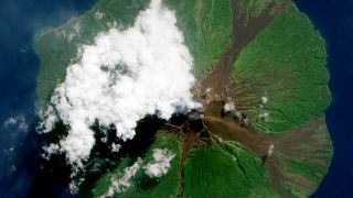 Manam Volcano in Papua New Guinea, as seen from space on June 16, 2010.
