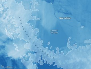 An instrument aboard NASA's Aqua satellite captured this image on July 12, 2017, revealing the giant iceberg that just calved from Antarctica's Larsen C ice shelf.