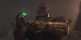 Thanos with the Stones in Infinity War