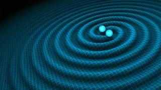 An artist's depiction of gravitational waves causing ripples in space-time.