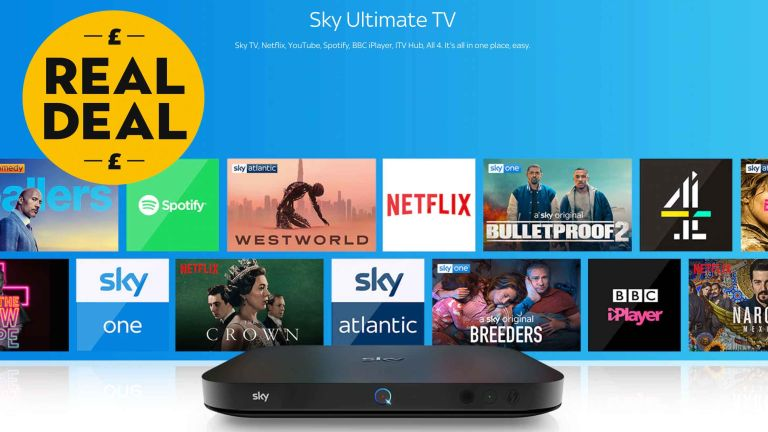 Sky TV deal: Ultimate TV package banner, blue background with several channel logos