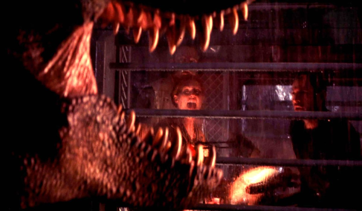 The Lost World: Jurassic Park Rex roaring outside of the camper