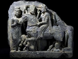 This sculpture, uncovered in the ancient city of Bazira, tells a Buddhist story involving Siddhartha, who later became the Gautama Buddha.