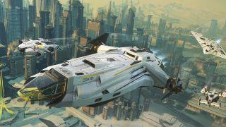 Three white starships fly over a future city.