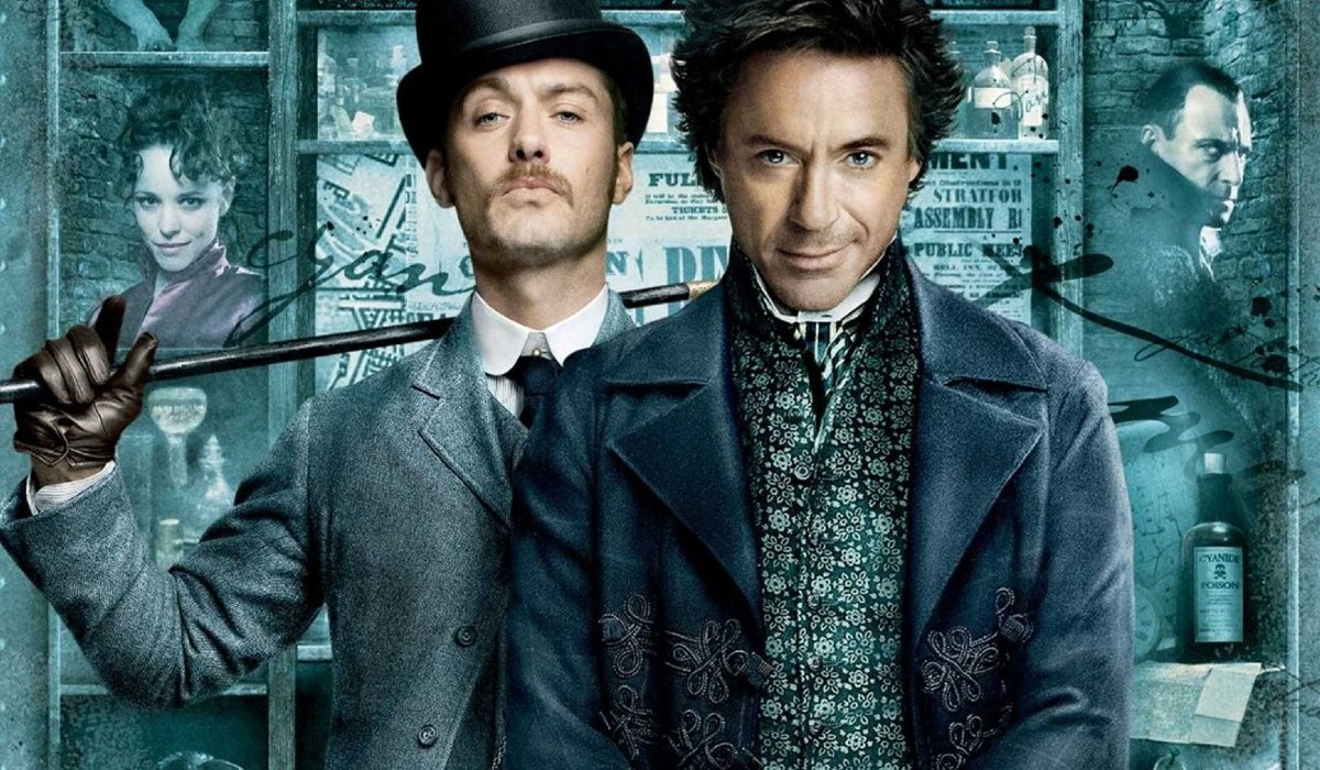 Sherlock Holmes Jude Law and Robert Downey Jr stand togther