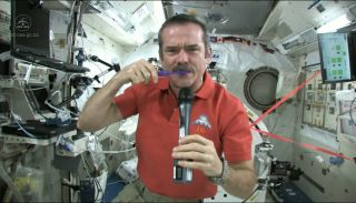 In space, you have to be careful about making a mess when brushing your teeth, and swallow your toothpaste.