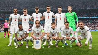 How to watch England v Hungary online - Photo shows the England EURO 2020 squad posing for a photo before the EURO 2020 Final against Italy.
