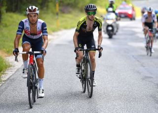 SARNANO ITALY SEPTEMBER 11 Gianluca Brambilla of Italy and Team TrekSegafredo Simon Yates of The United Kingdom and Team MitcheltonScott Breakaway during the 55th TirrenoAdriatico 2020 Stage 5 a 202km stage from Norcia to SarnanoSassotetto 1335m TirrenAdriatico on September 11 2020 in Sarnano Italy Photo by Justin SetterfieldGetty Images