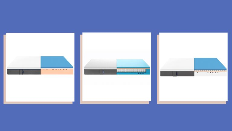 product shots of three Emma mattresses on a blue background to convey the best emma mattress sales and deals