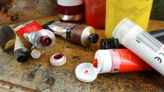 A selection of tubes of oil and acrylic paints