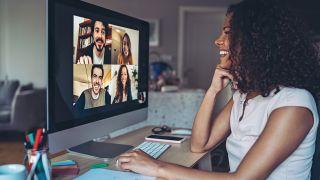 Woman videoconferencing