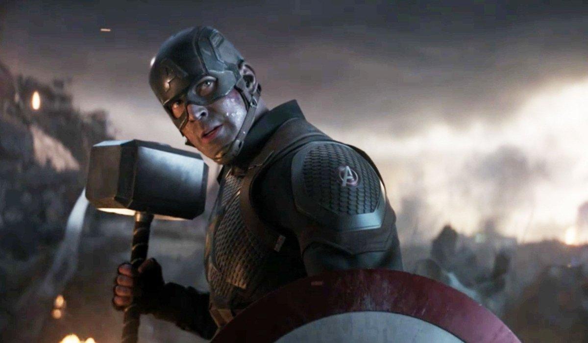 Avengers: Endgame Chris Evans wielding his shield and Mjolnir