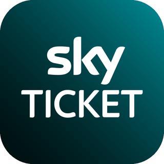 Das Sky Ticket Logo in weiß auf dunkelgrünem Hintergrund