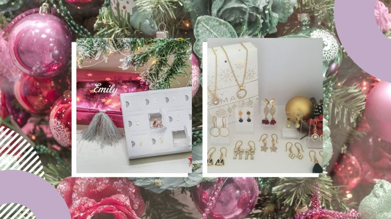 Jewelry advent calendars 2021 collage: from Not On The High Street and Etsy
