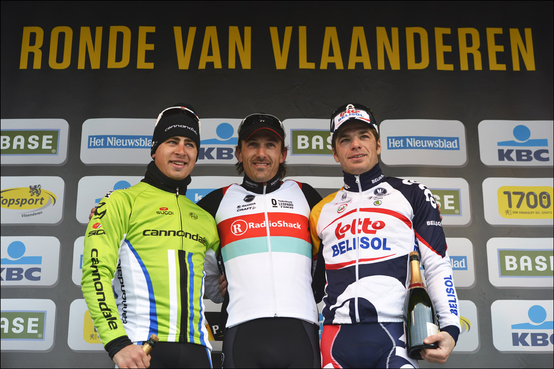 Peter Sagan and Jurgen Roelandts flank 2013 Tour of Flanders winner Fabian Cancellara