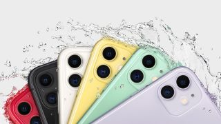 The iPhone 11 range being splashed by water