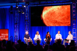 From left: Earth scientist James R. Irons, astrophysicist Padi Boyd, aerospace engineer Farah Alibay, astrophysicist Nour E. Raouafi, and host and astrophysicist Caleb Scharf.