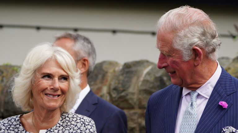LLANTRISANT, WALES - JULY 07: Prince Charles, Prince of Wales and Camilla, Duchess of Cornwall during a visit to the newly restored Llantrisant Guildhall Heritage and Visitors' Centre in Llantrisant, Glamorgan, as part of a week long tour of Wales for Wales Week, on July 7, 2021 in Llantrisant, Wales. (Photo by Ben Birchall - WPA Pool/Getty Images)
