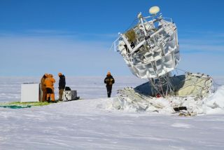 A team recovers NASA's Antarctic Impulsive Transient Antenna (ANITA) after a successful flight.